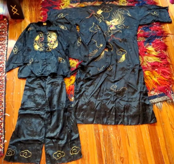 Rare 1930s/40s 3 Piece Japanese Silk Gold Embroid… - image 2