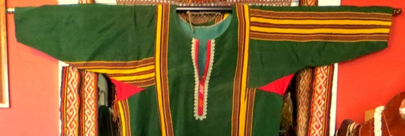 Traditional Turkmen Hand Woven Green Silk Dress/S… - image 8