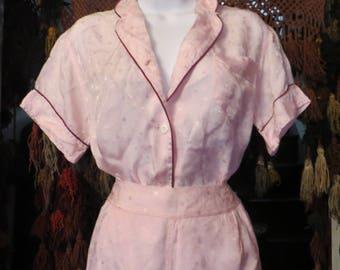 1940s/50s Pink Brocade Pajama Set