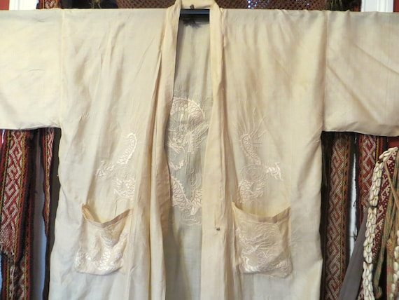 SALE 1920s Tissue Silk Embroidered Kimono/Robe