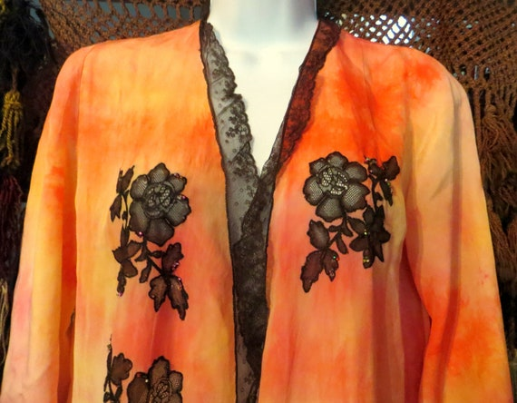 OOAK 20s Silk Overdyed Netted/Beaded Lace Trimmed… - image 7