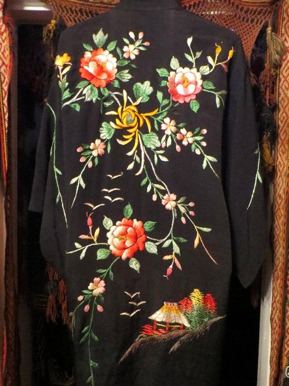 Silky Rayon 40s Hand Embroidered Kimono/Robe/Coat