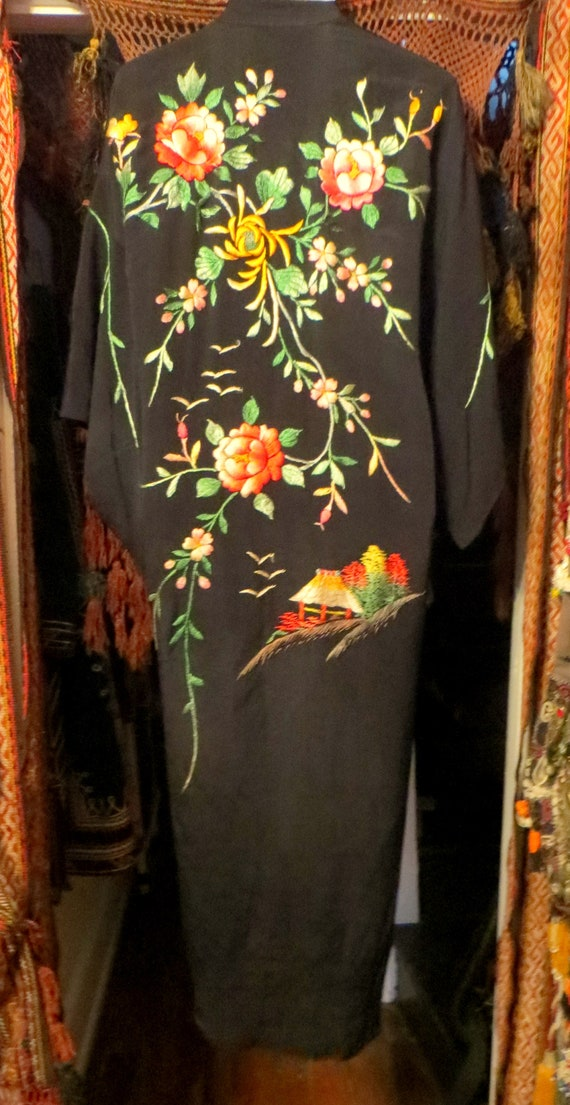 Silky Rayon 40s Hand Embroidered Kimono/Robe/Coat - image 3