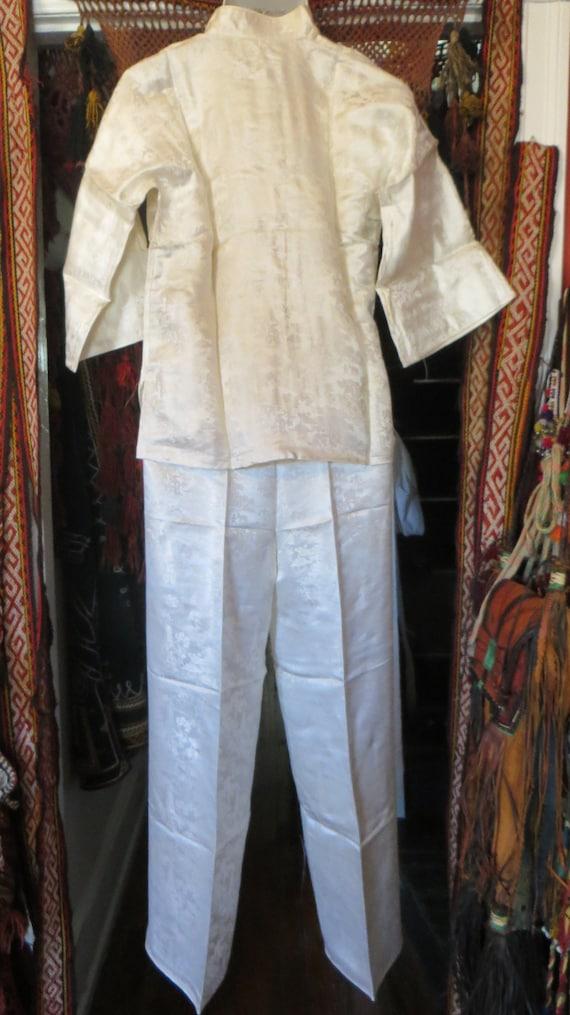 Fab 50s Asian Silk Pajama Set Beach Pajamas/Boudo… - image 5