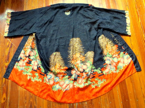 SALE 20s/30s Japanese Silk Kimono Robe  Painted Ch