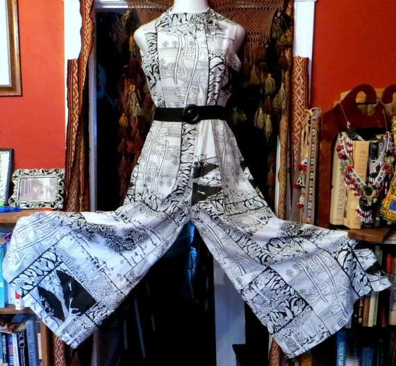 Fab B&W Cotton Palazzo Pants Jumpsuit Mid Century