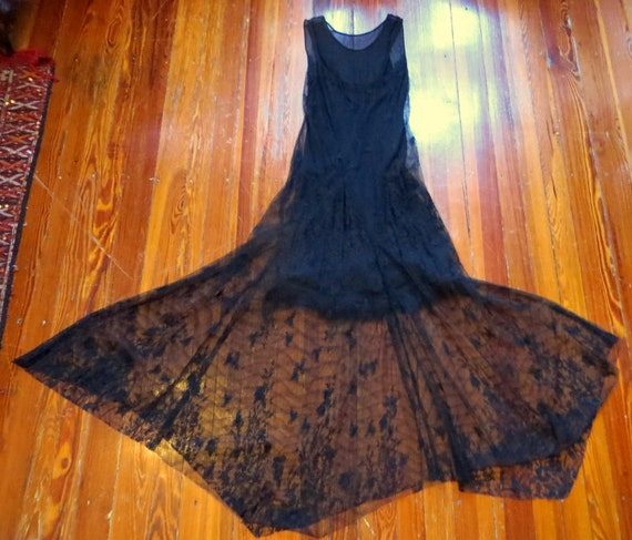 Sexy 1930s Style Black Chiffon/Netted Lace Fur Tri
