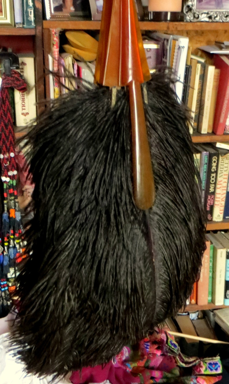 SALE HUGE Victorian20s Ostrich Feather Fan wBakeliteCulluoid
