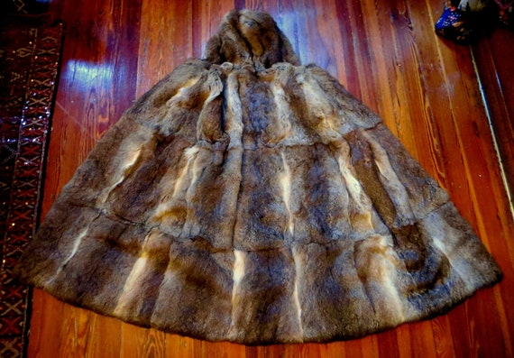 OOAK 1940s/50s Rabbit Fur Hooded Long Cape  Game o
