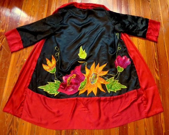 SALE 30s Reversible Silk Embroidered/Appliqued Art