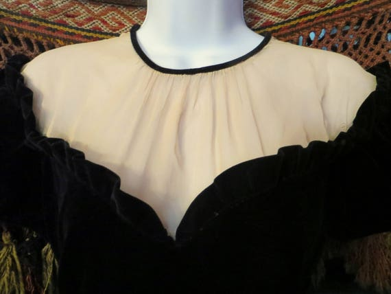 SALE 40s Black Velvet Gown with Netted Bodice