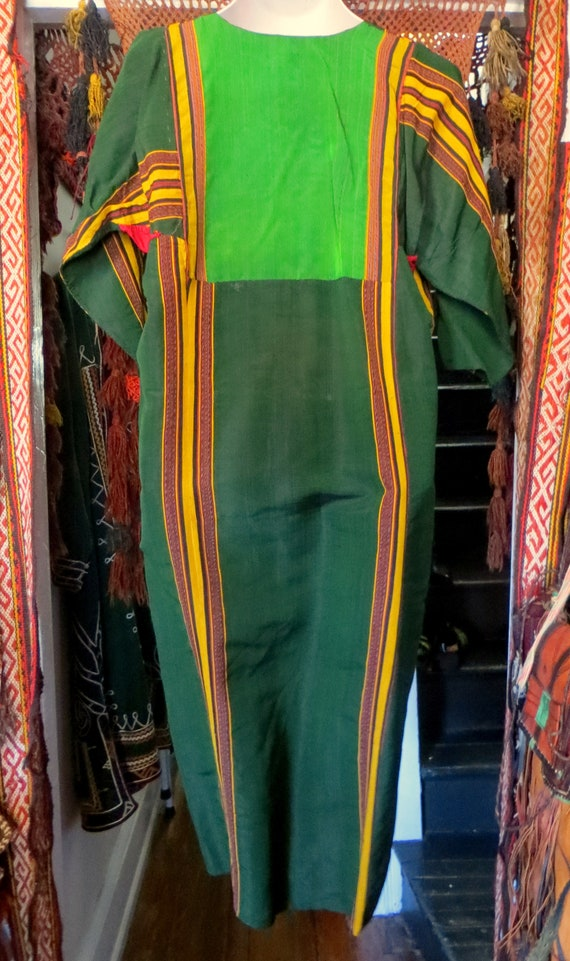 Traditional Turkmen Hand Woven Green Silk Dress/S… - image 5