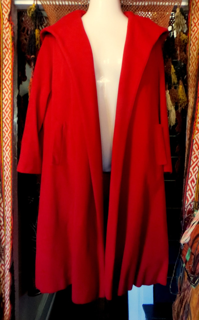 1950s Red Hooded Wool Swing Coat Little Red Riding Hood