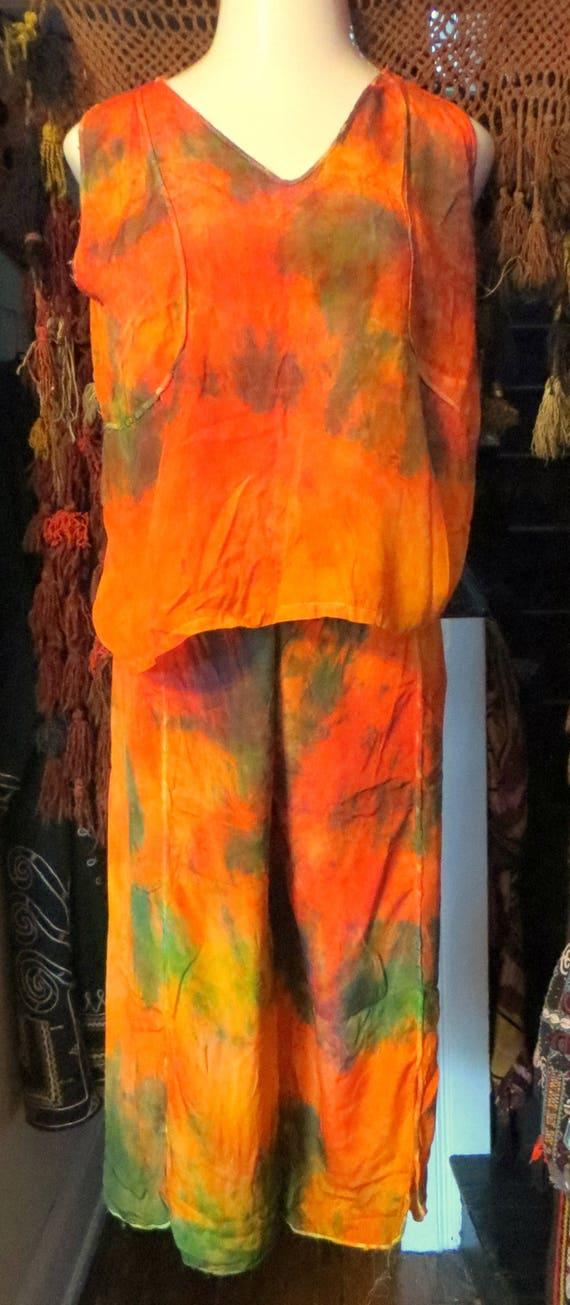 OOAK Overdyed  20s/30s  Silk Beach Pajamas Check O