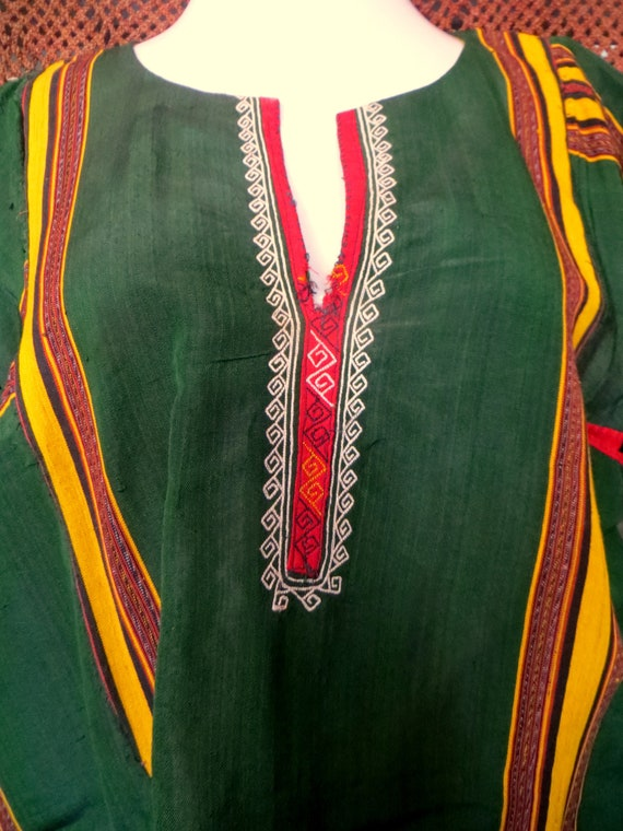 Traditional Turkmen Hand Woven Green Silk Dress/S… - image 9