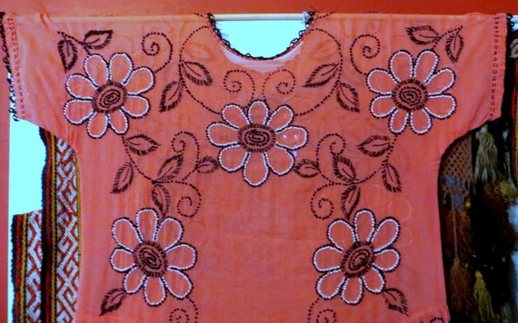 SALE 1920s Salmon Pink Embroidered Cotton Lawn Dre
