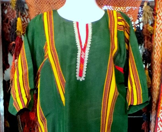 Traditional Turkmen Hand Woven Green Silk Dress/S… - image 7