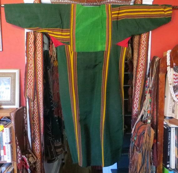 Traditional Turkmen Hand Woven Green Silk Dress/S… - image 2