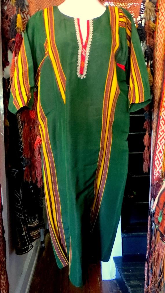 Traditional Turkmen Hand Woven Green Silk Dress/S… - image 3