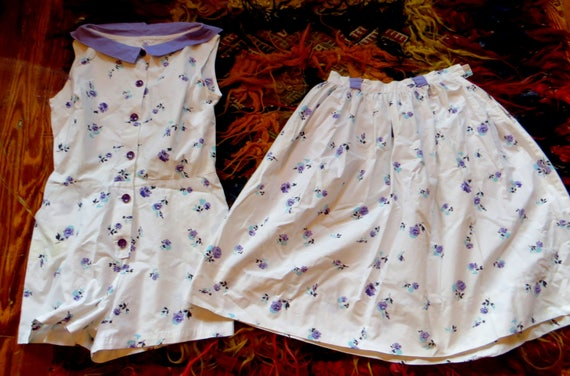 Fab 50s Cotton Floral Romper w/Matching Skirt