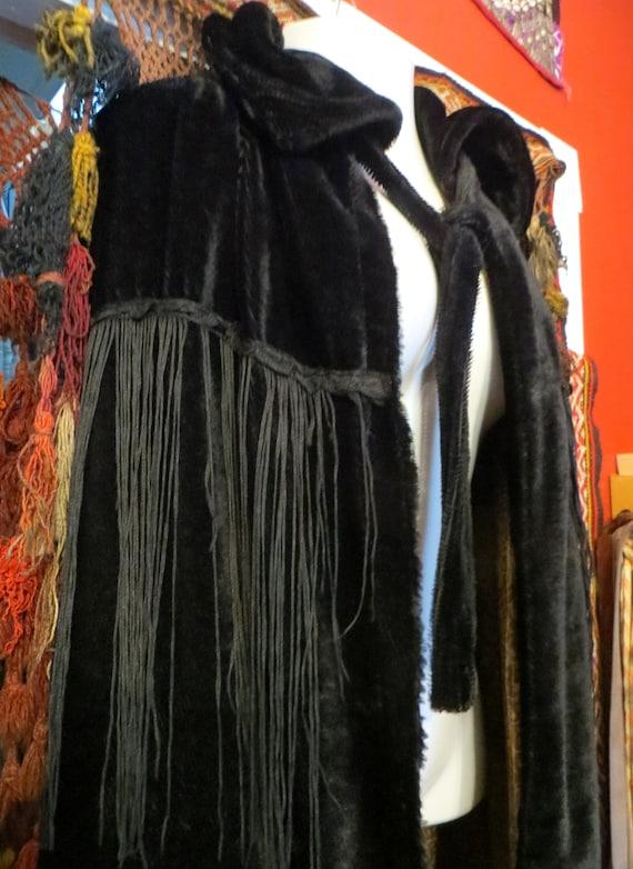 Rare Edwardian Mohair Fur Fringed Cape
