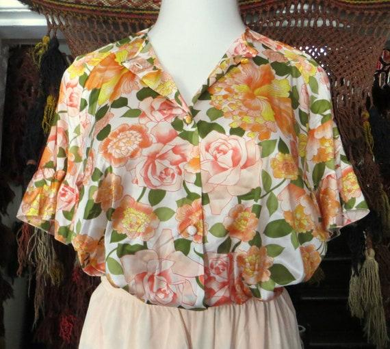 NOS Vanity Fair 50s/60s Floral Nylon Beach Pajama… - image 7