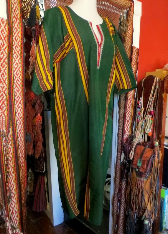 Traditional Turkmen Hand Woven Green Silk Dress/S… - image 6