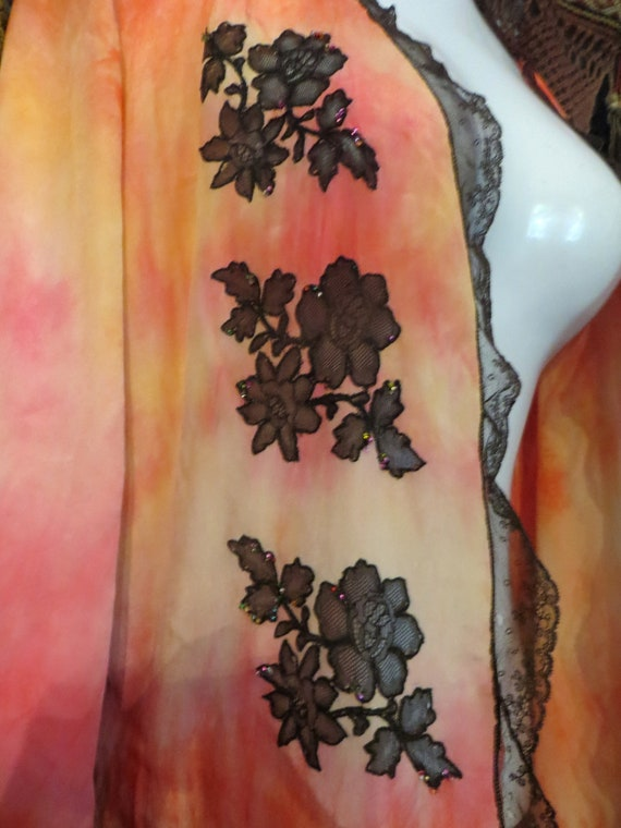 OOAK 20s Silk Overdyed Netted/Beaded Lace Trimmed… - image 6