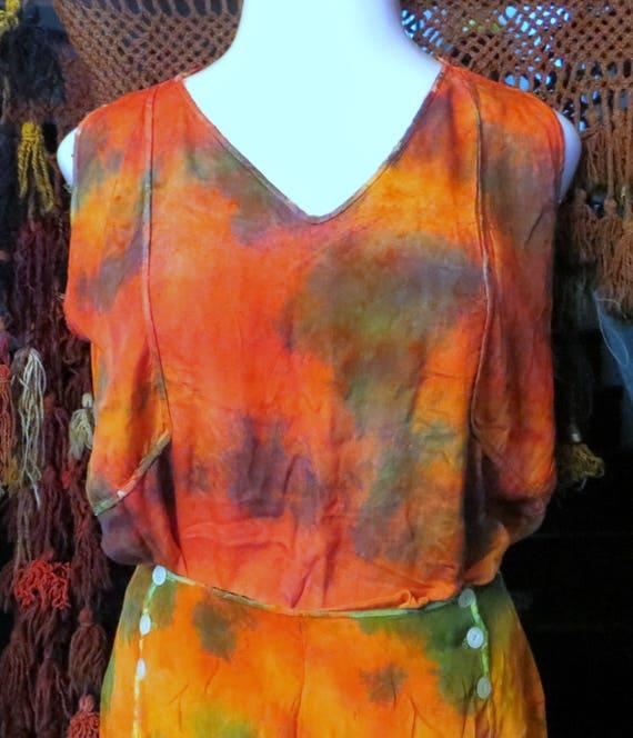SALE Outrageous 20s/30s Tie Dye Hombre Silk Beach