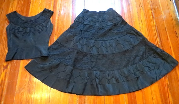 50s Black Lace/Fancy Corded Top and Skirt Set  Fie