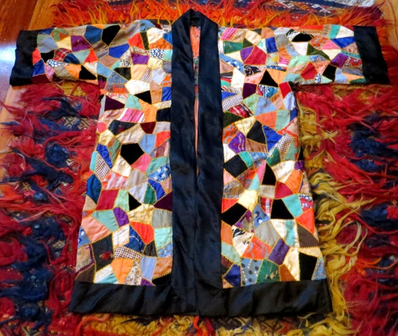 SALE 1930s Reversible Silk Patchwork Deco Robe/Coa