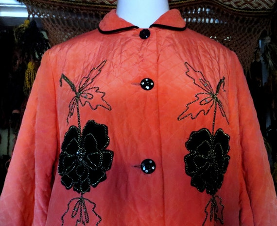 50s Asian Quilted Silk Satin Pajama Set w/Black Ve