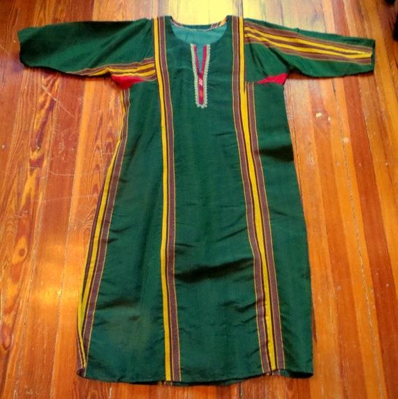 Traditional Turkmen Hand Woven Green Silk Dress/S… - image 4