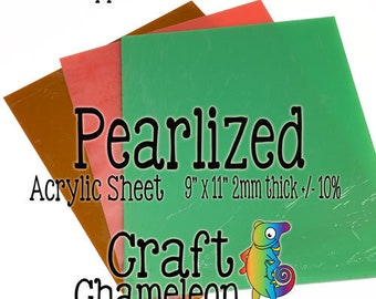 9 x 11 inch Color Acrylic Sheet Blank Laser Cutting ~ Translucent - Solid ~ Pearlized  2mm HAND CAST
