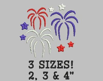 Buy 1 Get 1 Free! Fireworks Embroidery Design 4th of July Embroidery Design New Year's Embroidery Design Fourth of July Mini Fireworks Small