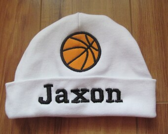 1b63c34a1d9 Personalized Basketball Hat Custom Basketball Monogrammed Basketball Beanie  Baby Boy Hat Hats with Names Personalized Baby Beanie