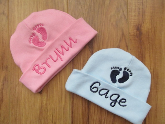 e3273f44b Personalized Baby Hat Monogram Baby Hat Baby Footprint Hat Personalized  Baby Beanie Monogram Baby Beanie Custom Baby Hat Baby Feet Hat