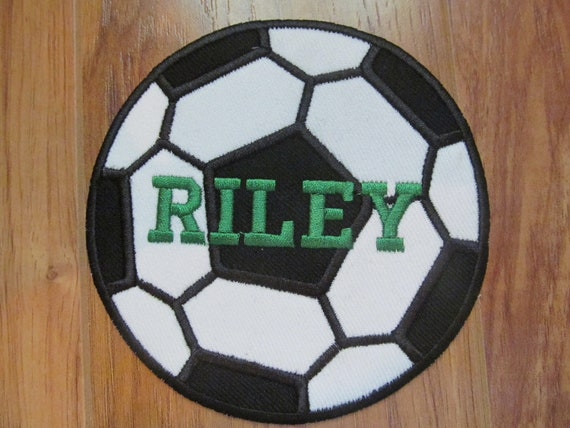 "5 6 or 7/"" PERSONALIZED MONOGRAM CUSTOM Name Soccer Ball Sports Iron on Patch 4"