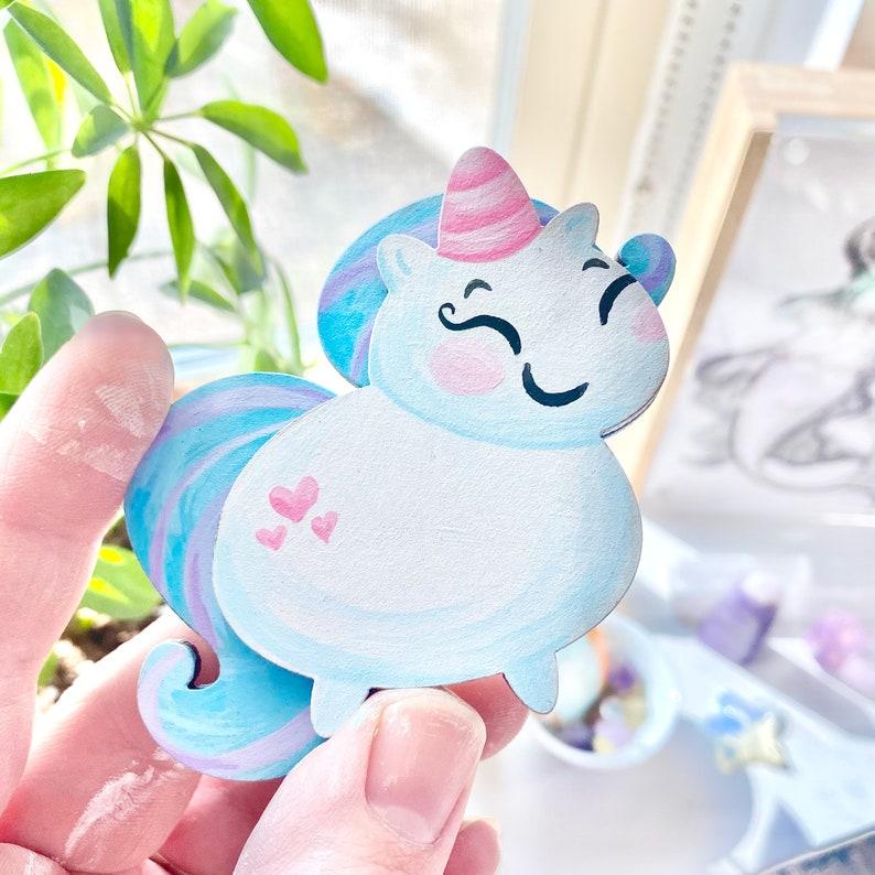 Wearable Art Hand Painted Art NEW*** Custom Chonky Unicorn BroochMagnet One-of-a-kind