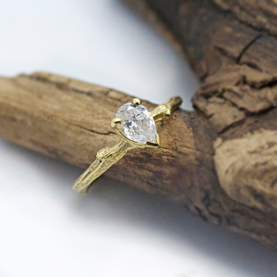 items similar to pear moissanite twig engagement ring. Black Bedroom Furniture Sets. Home Design Ideas