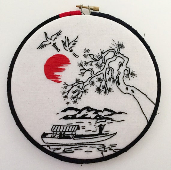 Boat Ride Hand Embroidered Hoop Art, Japanese Fan Art, Minimalist, Whimsical, Hand Embroidered