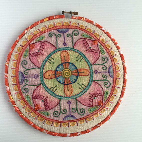 Colorful Mandala Hand Embroidered Hoop Art, Wax, Whimsical, Hand Embroidered