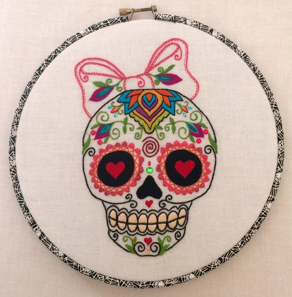 Girly Sugar Skull Dia de Los Muertos Hand Embroidered Hoop Art, Colorful, Whimsical, Hand Embroidered
