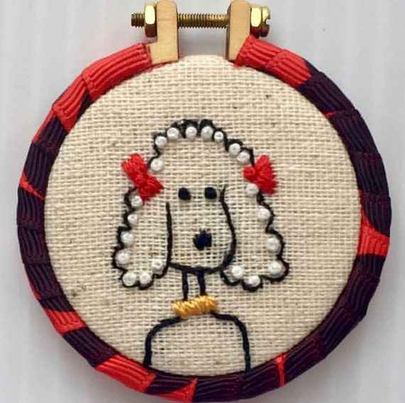 Little Poodle Hand Embroidered Mini Hoop Pendant, Whimsical, Dog Lovers, Hand Embroidered
