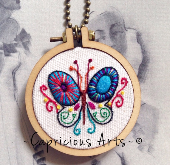 Psychedelic Little Butterfly Hand Embroidered Mini Hoop Art Necklace, Spring, Colorful, Whimsical, Hand Embroidered