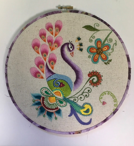 Proud Peacock with Beads Hand Embroidered Hoop Art