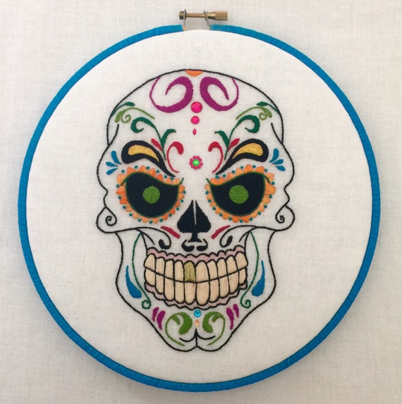 Mr. Evil Sugar Skull Dia De Los Muertos Hand Embroidered Hoop Art, Colorful, Whimsical, Hand Embroidered