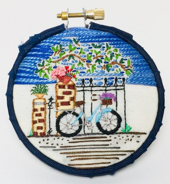 Visiting a  Friend Hand Embroidered Hoop Art, Best Friends, Whimsical, Bike Riding, Hand Embroidered