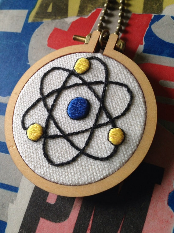 Up and Atom Hand Embroidered Mini Hoop Art Necklace, Science Nerd, Whimsical, Hand Embroidered