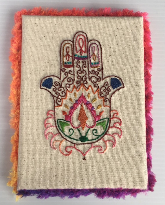 Hamsa Hand Mounted Embroidered Art, India, Painted Hand, Hand Embroidered